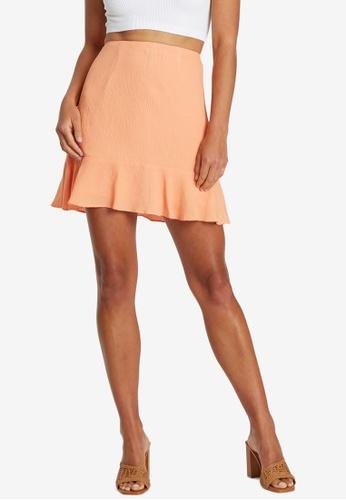 Calli 橘色 Noella 褶飾Skirt DEFD0AA17DCA71GS_1