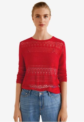 Mango red Openwork Knit Sweater B7AE7AAEDCF9D9GS_1