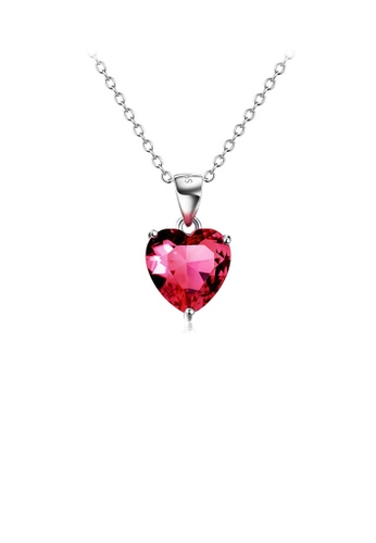 Glamorousky red 925 Sterling Silver Simple Fashion Red Heart-shaped Cubic Zirconia Pendant with Necklace 08BC1AC95F9B7DGS_1