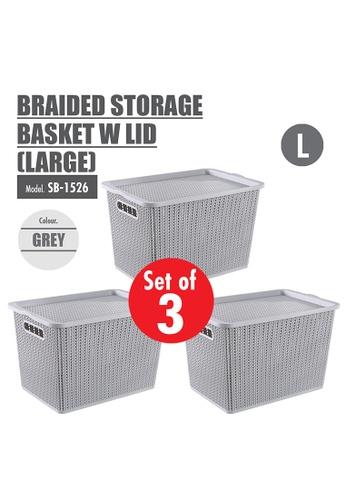 HOUZE grey [SET OF 3] HOUZE Braided Storage Basket with Lid (Large) 28911HL9E6E1D9GS_1