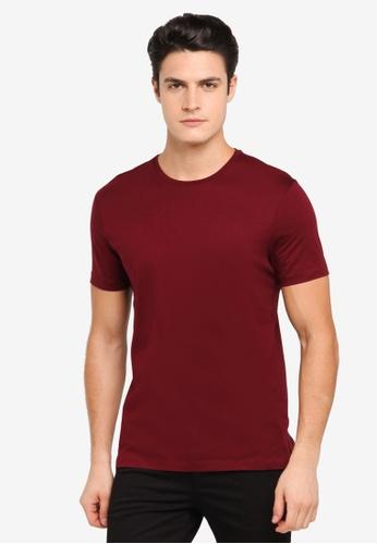 Topman red Burgundy Premium T-Shirt TO413AA0T1NHMY_1