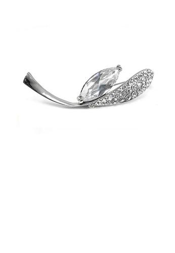 Glamorousky silver Elegant Brooch with Silver Austrian Element Crystal 65734AC43505E3GS_1