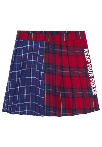 Fingercroxx red Plaid patchwork pleated skirt 6DA7BAA2648B93GS_1