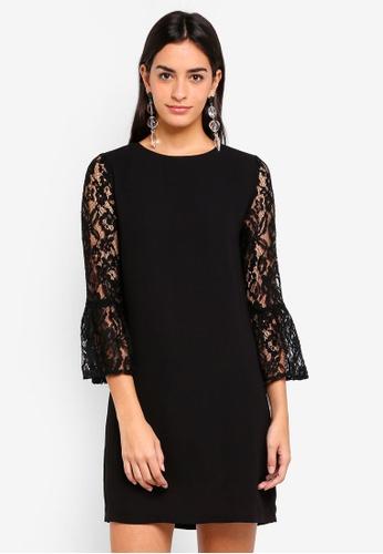 ZALORA black Flare Lace Sleeves Dress 56BAFAA4CA5E40GS_1