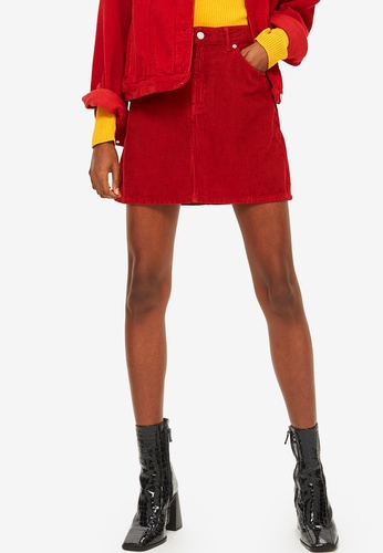 TOPSHOP 紅色 Red Corduroy Skirt BEA8FAAFC1A527GS_1