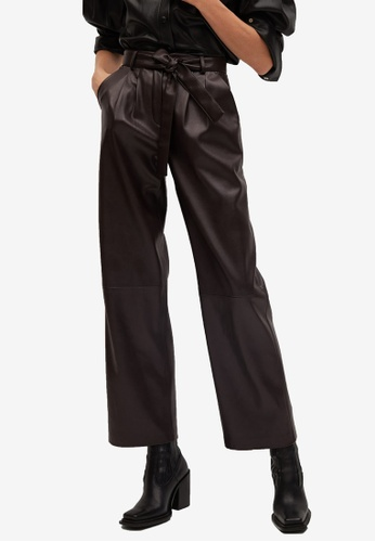 Mango brown Leather Effect Straight Trousers 74023AAD2324EDGS_1