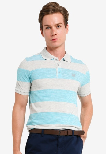 LC Waikiki blue Polo Neck Striped Short Sleeved T-Shirt E860FAA63DCD54GS_1
