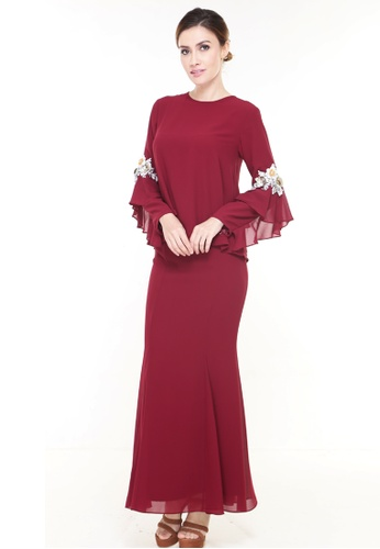 Buy Rina Nichie Couture Loreal Kurung Modern In Maroon Online