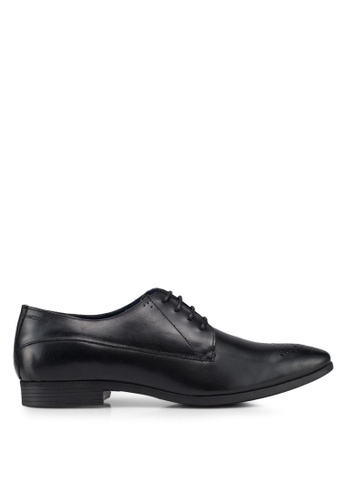 Burton Menswear London black Black Leather Derby Shoes F91A0SHA817016GS_1