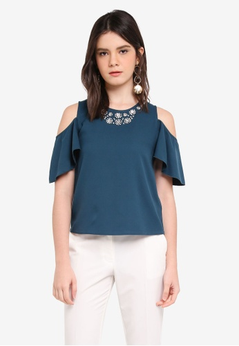 ZALORA green Embellishment Cold Shoulder Top C8BAEAA2070241GS_1