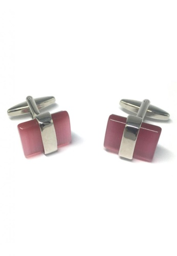 Splice Cufflinks pink and silver Pink Gem Cufflinks SP744AC41FSCSG_1