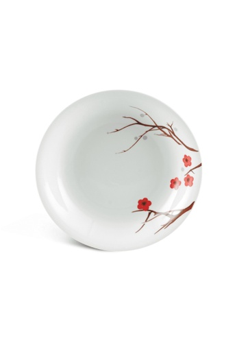 Minh Long I white Pink Ochna: Porcelain Deep Soup Plate (23cm) 88305HLC87B5E9GS_1