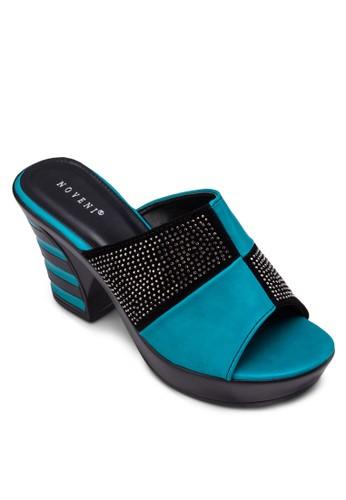 閃飾拼接粗跟涼鞋, zalora 台灣門市女鞋, 中跟