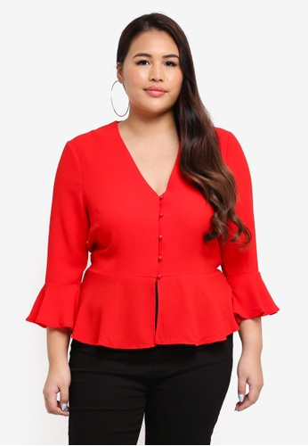 MISSGUIDED red Plus Size Button Detail Blouse 6F858AA3413DE4GS_1