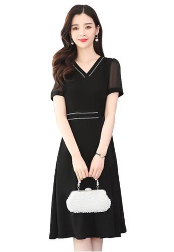 Halo black V Neck Dress 55FE7AA9AEB7B3GS_1
