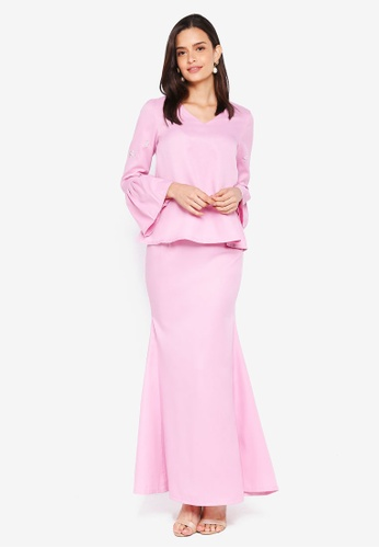 Lubna purple Bell Sleeves Flared Back Skirt 18327AA5CD0A87GS_1