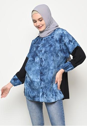 My Daily Hijab black and blue Savara Tye Dye Blouse F0521AA9EE8BCAGS_1