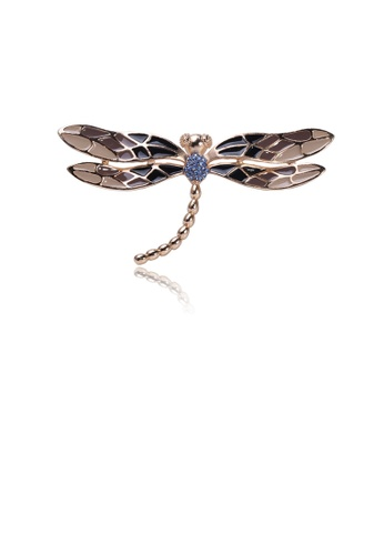 Glamorousky blue Fashion Simple Brown Dragonfly Brooch with Blue Cubic Zirconia 07DC7AC7B8BA91GS_1