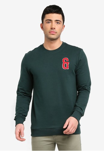 Only & Sons green Nik Patch Crew Neck Sweater FB8FBAA1CA1638GS_1