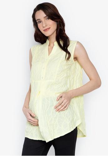 5cbff6efc16bd Mommy Plus yellow Rachel Mandarin Collar Sleeveless Maternity Blouse  A65FAAAA58C057GS_1