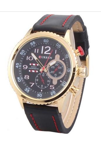 curren black and gold Curren 8179 Men's Leather Strap Watch (Gold Black) CU537AC12SZJMY_1