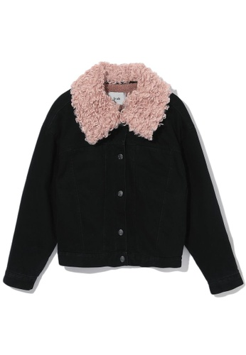b+ab black Faux fur collar jacket 7AC4FAA81A1224GS_1
