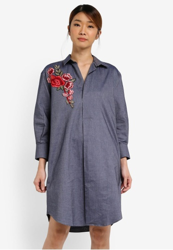 UniqTee navy Flora Embroidered Shirt Dress UN097AA0SHD9MY_1