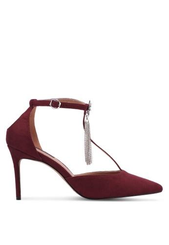 ZALORA 紅色 T-Bar流蘇尖頭細跟高跟鞋 9D7E4ZZCD8D965GS_1