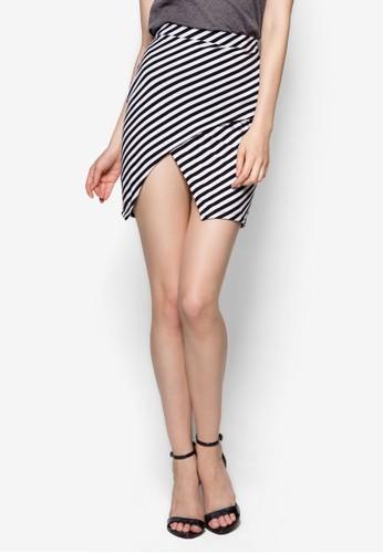 條esprit品牌介绍紋裹飾開衩短裙, 服飾, 裙子