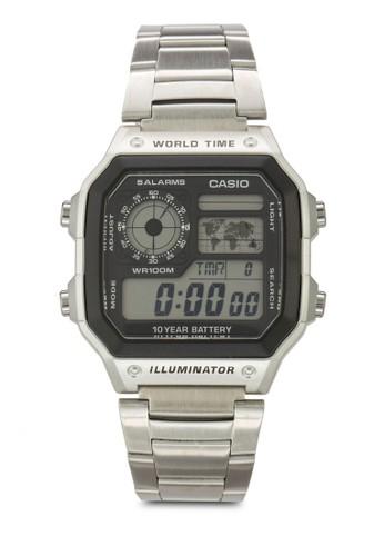 AE-1200WHD-1AVDF 男士不銹esprit outlet 家樂福鋼電子錶, 韓系時尚, 梳妝