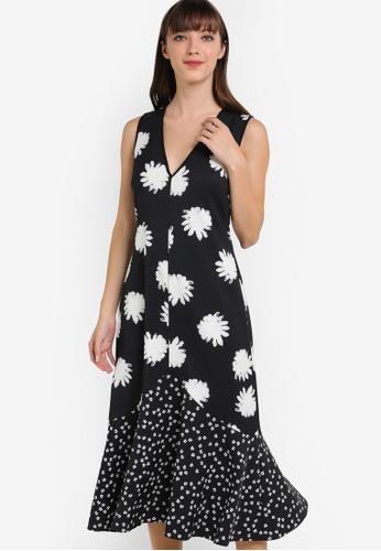 WAREHOUSE black Daisy Floral Midi Dress WA653AA53CWCMY_1