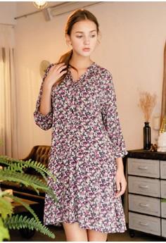 [Basic] Loose Fit Mid Sleeve Floral Dress