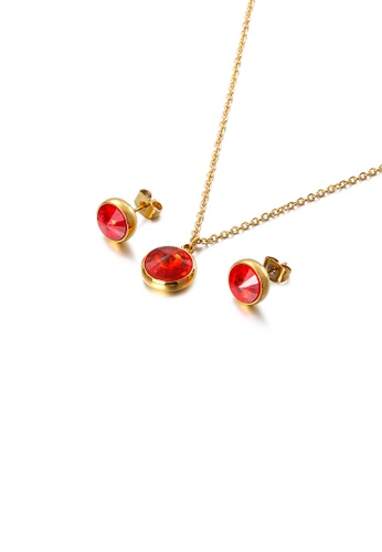 Glamorousky red Fashion and Simple Plated Gold Geometric Round 316L Stainless Steel Necklace and Stud Earrings Set with Red Cubic Zirconia 6149BACBD3E72EGS_1