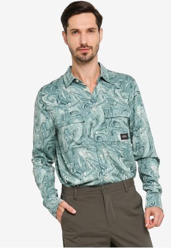 Scotch & Soda green Marble Worker Shirt 29452AADD4B077GS_1