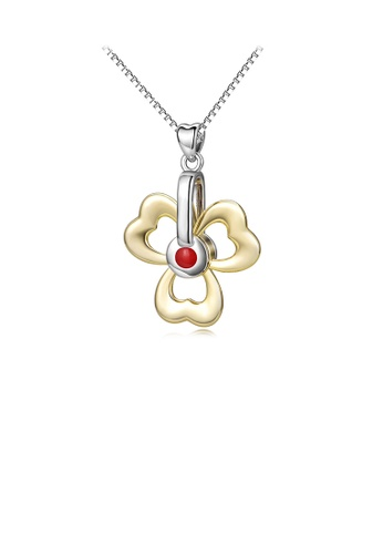 Glamorousky silver 925 Sterling Silver Simple and Elegant Gold Clover Pendant with Necklace B70D4AC132E6FCGS_1