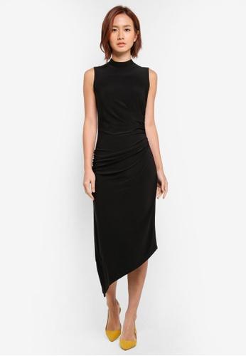 WAREHOUSE black Asymmetric Midi Dress AECFDAA93AB12EGS_1