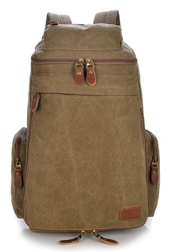 Jackbox brown Korean Fashion Large Capacity Expandable Canvas Ipad Laptop Bag Backpack 529 (Khaki) AFD01AC729E994GS_1