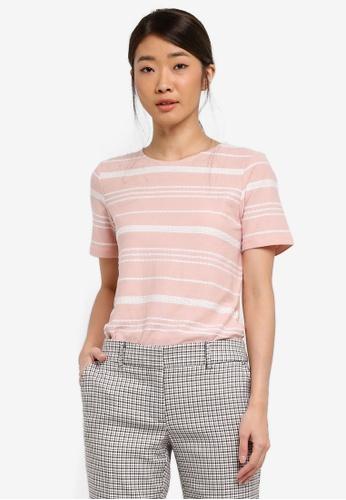 Dorothy Perkins pink Pink Textured Striped T-Shirt 50A33AA7A751A0GS_1