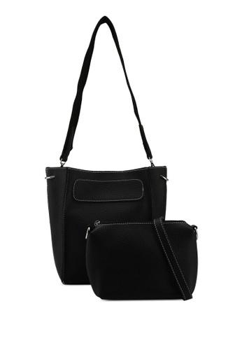 Something Borrowed black Meium Shoulder Bag With Pom Pom Detail 45A29AC355A750GS_1