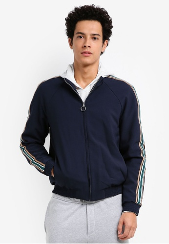 Topman blue Navy Zip Through Taping Smart Track Top 8B8CFAAE0A0B91GS_1