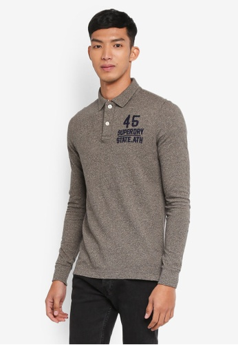 Superdry grey Classic L/s Expedition Polo 23EB3AA87AE7D7GS_1