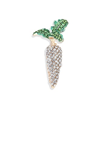 Glamorousky green Simple and Bright Plated Gold Carrot Brooch with White Cubic Zirconia 00069AC778AA98GS_1