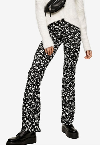 TOPSHOP multi Black And White Floral Print Flare Trousers 8F5D1AA193F53AGS_1