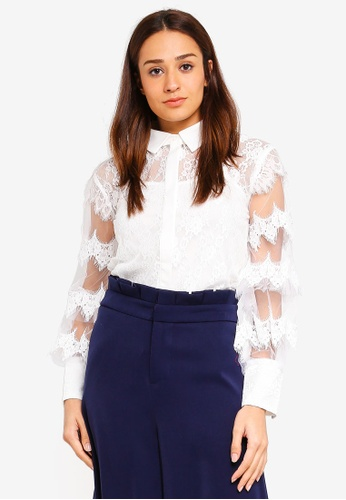 bYSI white Mesh Lace Collar Shirt 6F090AAB3A8ACEGS_1