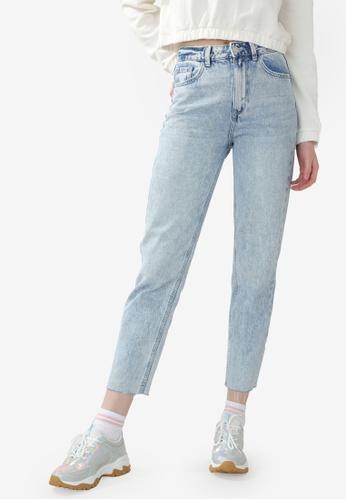 PIMKIE blue High-Waisted Straight Leg Jeans 97B5AAA3232E7FGS_1