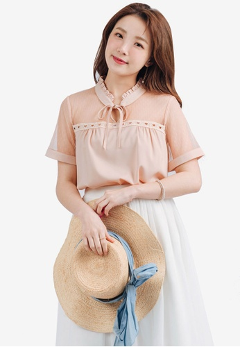 YOCO pink High Collar Blouse with Pussy Bow 17960AACAF7D20GS_1