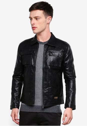 High Cultured 黑色 荔枝皮夾克 70F18AA829E528GS_1