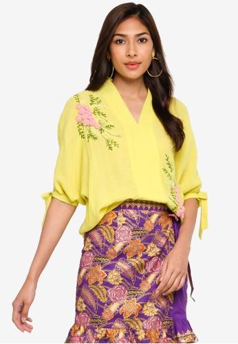 KANOE yellow KANOE Silk Crepe Love top - Hope Alive 642CDAA5C537D9GS_1