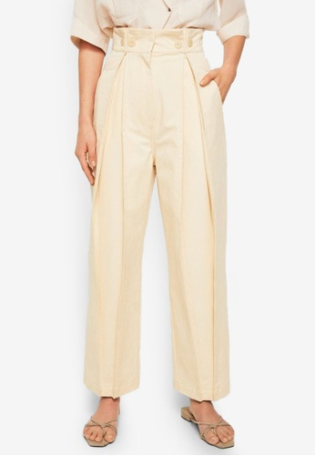 Mango beige Committed Collection Pleat Detail Cotton Trousers F9DC7AA11FDDC0GS_1