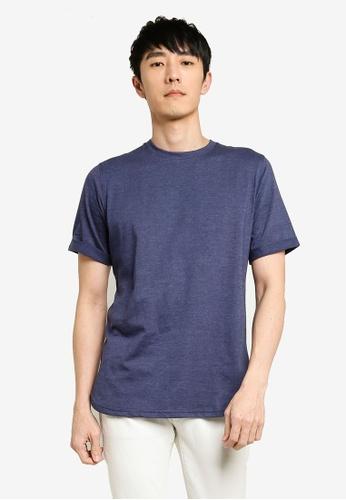 UniqTee 海軍藍色 素色反摺袖T恤 E375BAA95386C1GS_1